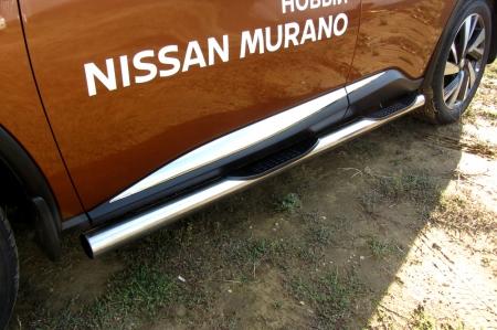 Nissan MURANO 2016 - Защита порогов d76 с проступями